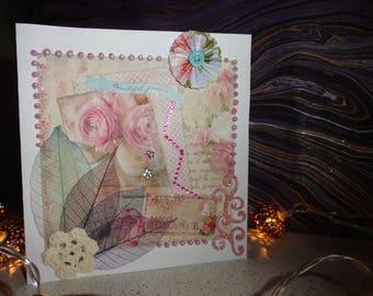 "Card titled ""Beautiful flowers"", romantic, soft..."