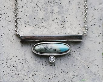 White Gold Bar with Turquoise and Diamond Necklace / Turquoise Necklace / Modern Necklace / Fine Jewelry Necklace / Solid Gold Jewelry
