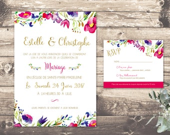 Rose gold flowers wedding invitation