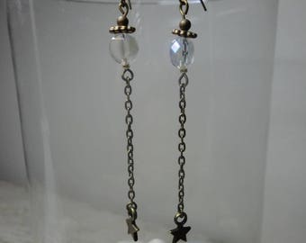 Long earrings white + hanging chain and star charm