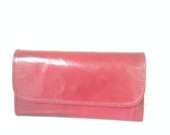 Red goat leather wallet womens