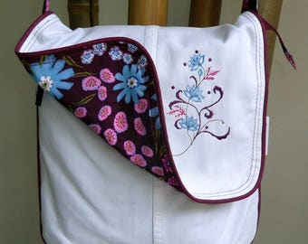 Bag large XL. Upcycling. White Denim fabric and embroidery.