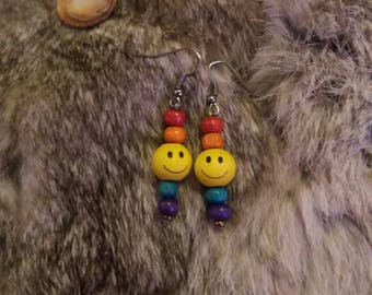 Rainbow Smiley Face Earrings
