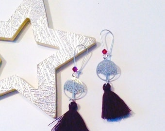 Earrings purple tree of life collection