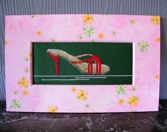 """Shoe"" embroidered cross stitch chart"