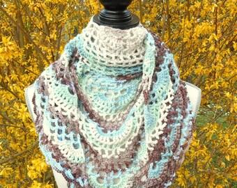 "Handmade crochet ""Artist"", multicolored scarf / shawl."