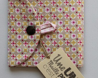 pochette à barrettes petit format rose beige et prune