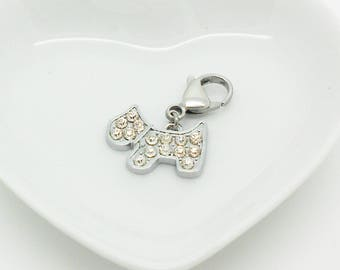 silver charms and rhinestone dog collar
