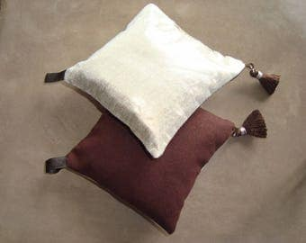 Set of 2 cushions lamé Lavender soft Golden and Brown