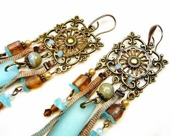 Bohemian earrings sky blue, caramel, bronze Pearl