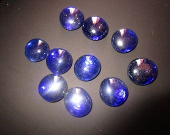set of 10 blue Ultramarine glass pebbles