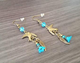Flower Turquoise bird Earrings
