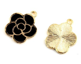 set of 2 charms, flower, black, gold