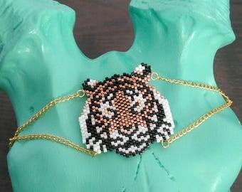 Tiger beads miyuki-woven bracelet