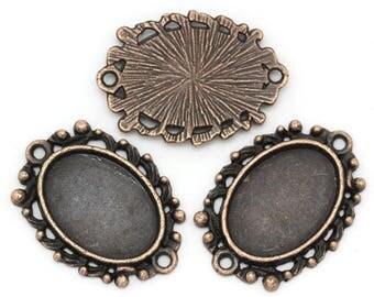 18 x 13 mm set of 25 pendants for cabochons copper stick