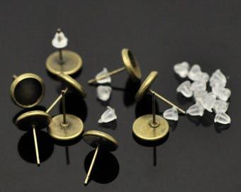 8 mm set of 20 + 20 8 mm cabochons earrings backings