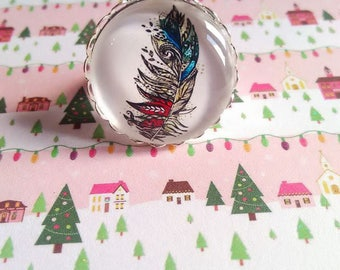 Feather ring with 25 mm cabochon