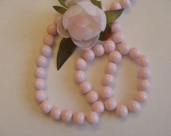 Set of 5 beads in pink glass powder
