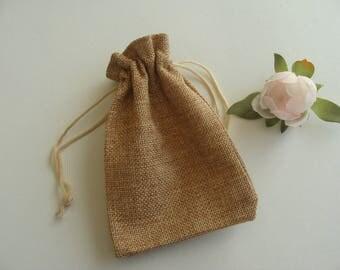 Gift jewelry box small 13 * 9.5 cm Brown burlap bag