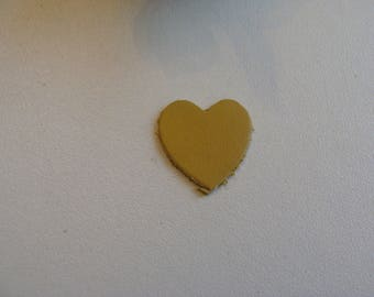 leather mustard yellow color heart applique