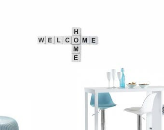 Set of scrabble - words WELCOME + HOME letters - wall decor style classic