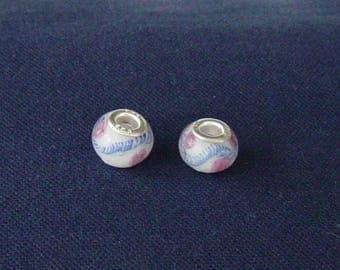 2 blue beads, pink and white Lampwork bracelet snake