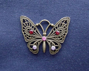 Metal Butterfly charm bronze clear Red/Pink/Purple rhinestone
