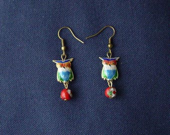 Red cloisonne beads and OWL earrings