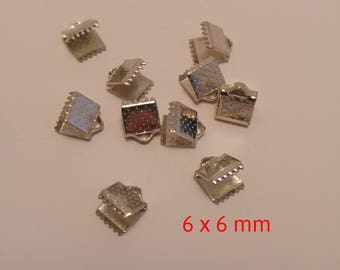 10 lobster claw for Ribbon silver 6x6mm