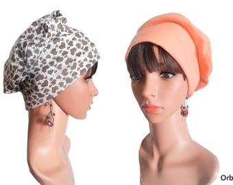 """""""Joelle"""" REVERSIBLE chemo Cap & its removable fabric flower"""