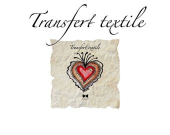 Textile transfer (heart) on parchment (square) 7cm illustration and graphic design Jul and wire