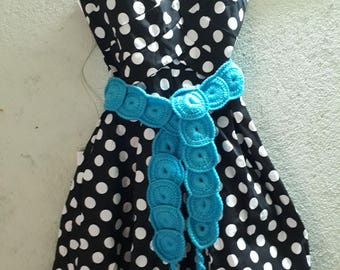 Boho Belt. Crochet Belt. Festival Belt. Cotton Woven Belt. Taupe Belt. Crochet Sash. Beaded Belt. Beach Wear. Crochet pattern.Tie belt blue