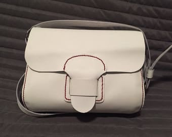Small white leather shoulder bag