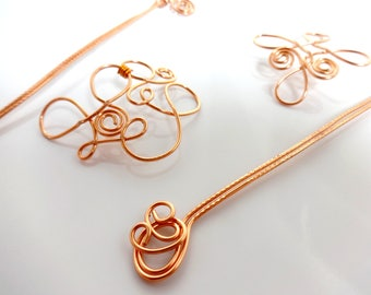 Barrette/hairpin - curved pattern - copper