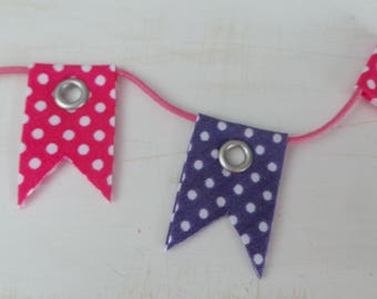Textile embellishment mini Bunting for scrapbooking
