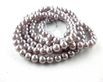 Wholesale lot of 100 grey glass pearl beads, 6mm