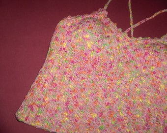 top 38/40, spaghetti straps, linen/cotton/bamboo, mottled pink/yellow/ecru