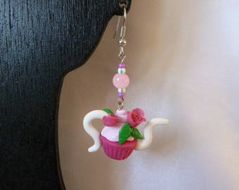 Cup cake earrings teapot jewelry collection designer jewelry Pink Pearl flowers