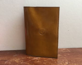 Leather Passport Slip Case Cover -  L.PITTFORD - Handmade - Yellow patent