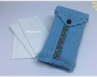 Holster with handkerchiefs-Crochet acrylic, blue floral, Ribbon closure strap Pearl, convenient for all, clean and Fun, Crochet gift tissue Cover