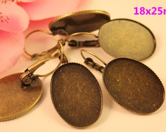 5 pair earrings oval bronze cabochon 18x25mm
