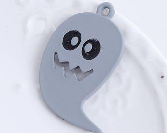 5 gray 29x22mm HALLOWEEN ghost charms