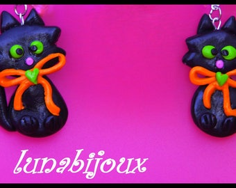 Halloween Black Cat polymer clay earring