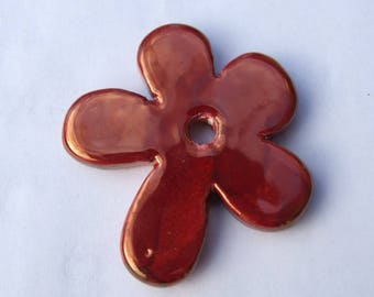 CERAMIC RED FLOWER GOLD 50MM