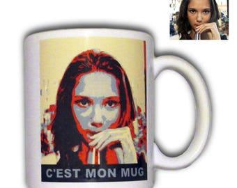 Personalized mug for artistic effect displayed OBAMA