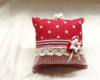 Cushion keychain or ornament holder wrist - red & white