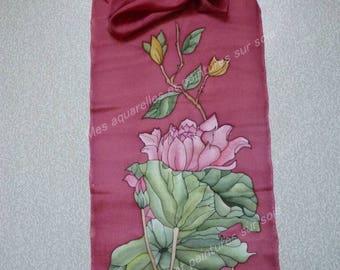 Silk scarf with flowers - 140 x 45 cm