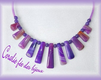 tube pvc purple tones and natural agate stone necklace