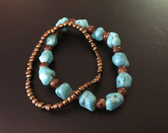 Teal and brown stretchy bracelets
