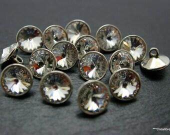 2 swarovski crystal buttons